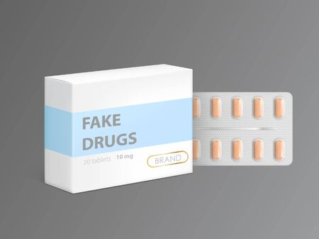 Vector mockup of white carton package box with fake drugs and orange pills in blister. Template packaging of counterfeit capsules, medicaments or pharmaceutical products isolated on gray background