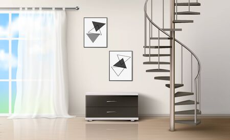 Room with spiral staircase. Empty living interior with curtained window, commode, pictures on wall and wooden floor. Modern home design with metal helical round ladder Realistic 3d vector illustration Illusztráció