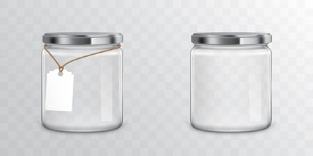 Glass jars with metallic screw libs isolated on transparent background. Vector mockup with realistic empty mason with tag for storage food products, sweets and preserves Çizim