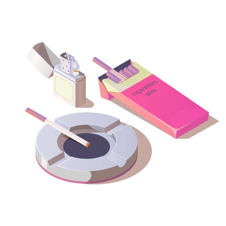 Slim cigarettes, lighter and ashtray set. Pink pack mock up of tobacco nicotine product, design for women isolated on white background. Bad unhealthy habit. Isometric 3d vector illustration, clip art