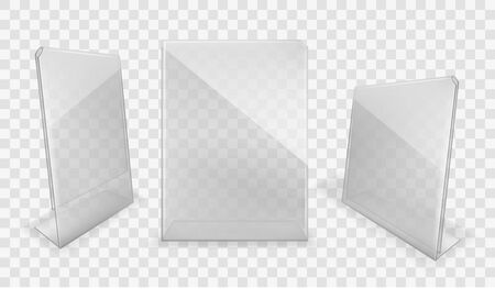 Acrylic table displays set, glass or plastic card holders isolated on transparent background. Empty plexi stands mock up. Clear plexiglass tag mockup, photo frame Realistic 3d vector illustration Ilustrace