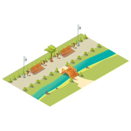 Isometric park with benches, trees, bushes, wooden bridge above river and litter bins. City street architecture low poly design element isolated on white background. 3d vector illustration, clip art Ilustração