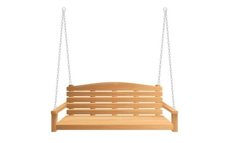 Wooden porch swing hanging on chains isolated on white background. Vector swing bench for outdoor, garden and patio Foto de archivo - 138251858
