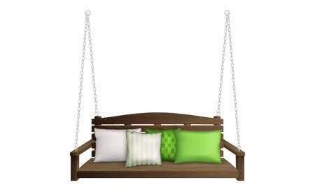 Banc de balançoire porche en bois avec oreillers. Mobilier de jardin extérieur classique pour les loisirs suspendu à des cordes avec des coussins moelleux isolés sur fond blanc. Illustration vectorielle 3d réaliste, clipart
