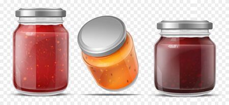 Jam jars, glass containers for fruit jelly set isolated on transparent background. Gelatin marmalade pack with cap mock up design. Blank preserve tubes different sizes Realistic 3d vector illustration Çizim