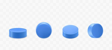 Plastic bottle caps set isolated on transparent background. Blue round corrugated lids design for mineral water or beverage flask top and side view. Realistic 3d vector illustration, icon, clip art Иллюстрация