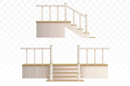 Wooden porch staircase with decorative balustrade and pillars front and side view. Vector realistic 3d external stair steps with railings from terrace isolated on transparent background