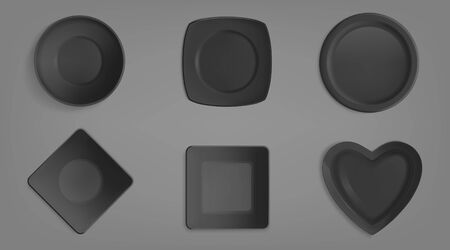 Top view of empty black different shapes bowls. Realistic vector mockup of square, round, heart shape and rhumb plates. Set of porcelain crockery isolated on gray background