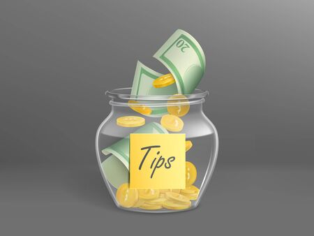 Transparent money box for tips full of dollars cash. Vector realistic glass jar with sticker label with gold coins and banknotes for gratuity, donation, charity isolated on grey background