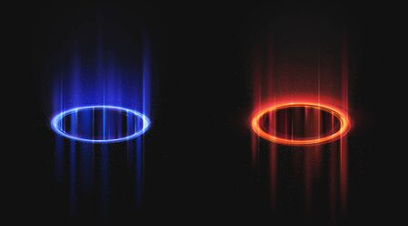 Versus blue and red round holograms with light rays and sparks. Glow neon magic portals on night scene. Digital futuristic teleport. Vector realistic template for vs game battle on black background Ilustrace