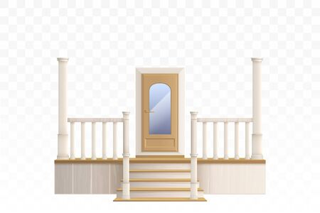 Wooden front door with glass window and porch staircase with decorative balustrade and pillars. Vector realistic 3d exterior of house entrance isolated on transparent background