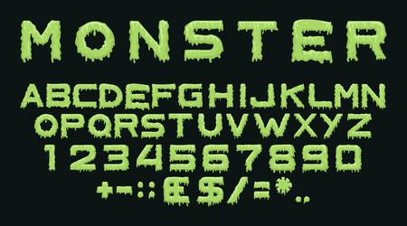 Monster type. Vector spooky alphabet with drops of flowing slime. Scary letters and numbers isolated on black background for halloween, theme party posters, flyers and decoration 矢量图像