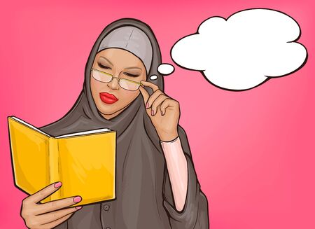 Arabic woman in hijab reads a yellow book. Intelligent muslim girl in traditional clothes with eyeglasses studying Quran. Vector pop art illustration with speech bubble on pink background