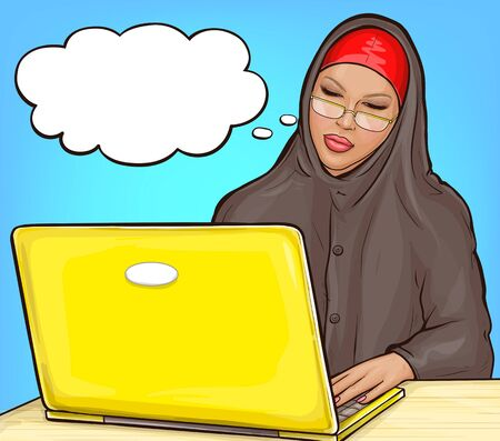 Arabic woman in hijab working on yellow laptop. Muslim business woman in traditional clothes typing on computer keyboard. Vector pop art illustration of girl in eyeglasses with speech bubble