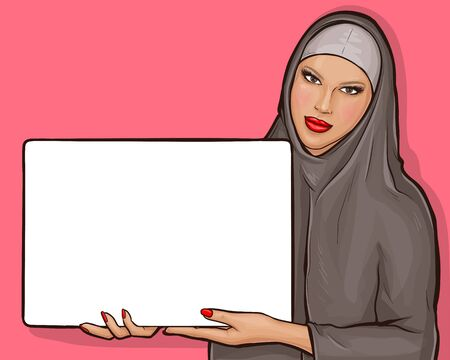 Arabic woman in hijab holds white poster. Muslim girl in traditional clothes showing blank square placard. Vector pop art illustration with copy space on billboard