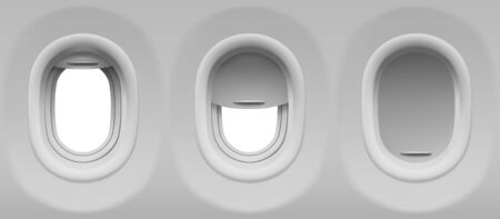 Aircraft windows. Three realistic airplane portholes with open and closed shade. Vector template of plane interior illuminators with white background outside