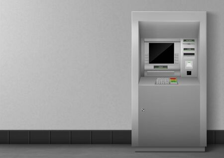 ATM with blank black display. Bank terminal for transaction, withdraw money and deposit to account. Vector illustration of realistic cash machine with copy space for your text.