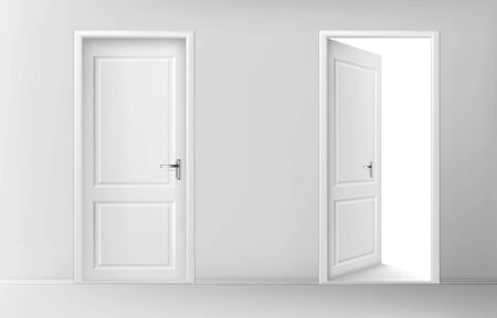 White wooden doors. Vector set of realistic closed and open doors with chrome handles in interior. Conceptual illustration for welcome, invitation to enter or new opportunity