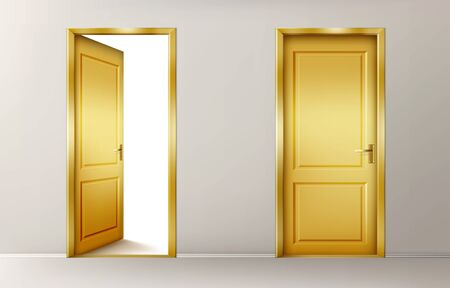 Golden doors. Vector set of realistic closed and open yellow doors in interior. Conceptual illustration for welcome, wealth luck or new opportunity