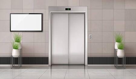 Pasillo de oficina con puerta de ascensor cerrada y pantalla de TV en la pared. Interior realista de vector con ascensor, plantas en macetas blancas y pantalla de monitor de computadora en blanco