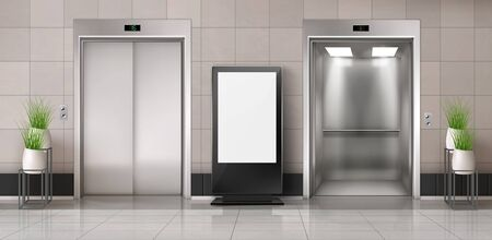 Office hallway with LCD screen floor stand, open and closed elevator doors. Vector realistic empty lobby interior with lift, plants and blank advertising display. White billboard with copy space Ilustrace