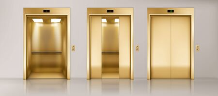 Golden lift doors. Office hallway with closed, half closed and open elevator cabins. Vector realistic empty interior with passenger or cargo lifts with button panel and floor indicator on wall Reklamní fotografie - 138648858