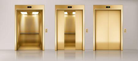 Portes d'ascenseur dorées. Couloir de bureau avec cabines d'ascenseur fermées, semi-fermées et ouvertes. Intérieur vide réaliste de vecteur avec ascenseurs de passagers ou de fret avec panneau de boutons et indicateur de sol sur le mur Vecteurs