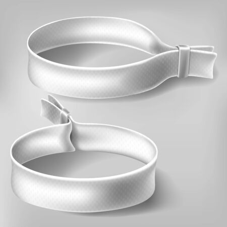 Weiße Festival-Party-Stoffarmbänder mit Kunststoffverschluss. Stoffarmbänder mit Identität. Vektormodell mit leerem Zugangskontrolldesign für Musikkonzert, Tanz und Veranstaltungen