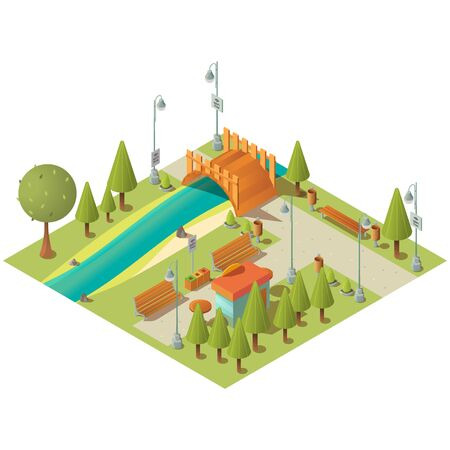Isometric landscape of city green park with fast food kiosk. Town garden with grass lawns, benches and bridge over river. Vector 3d map of public recreation area with Wi-Fi free zone Ilustração
