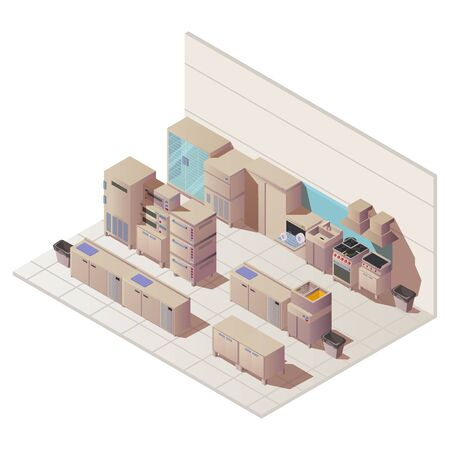 Empty isometric interior of restaurant kitchen. Vector flat illustration with sink, fridge and other cuisine equipment for professional cooking food in cafe, hotel, canteen Stock Illustratie