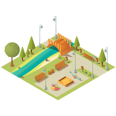 Isometric landscape of city green park with playground. Garden area with grass lawns, benches and bridge over river. Vector 3d carousel, seesaw swing and sandbox for children activity