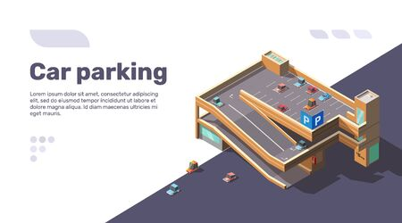 Isometric multi level car parking with elevator. Multistory parking lot building with automobiles on roof. Vector flat infographic illustration of urban transport area with sample text