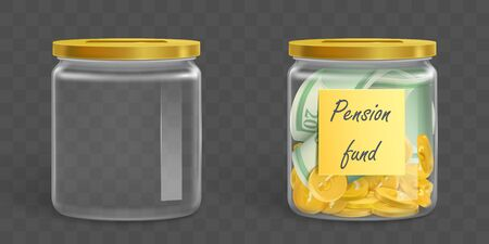 Empty clear money box and full of gold coins and banknotes with label Pension fund. Vector glass jar with dollars cash isolated on transparent background. Investing, saving money for retirement