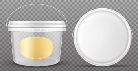 Clear plastic bucket with yellow label and white lid front and top view. Vector mockup of realistic 3d empty container for food, sauce, ice cream isolated on transparent background Ilustração