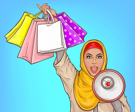 Arabic woman in hijab with loud speaker and shopping bags. Delighted muslim girl with megaphone announce about sale. Vector pop art illustration of muslim lady in yellow veil with open mouth