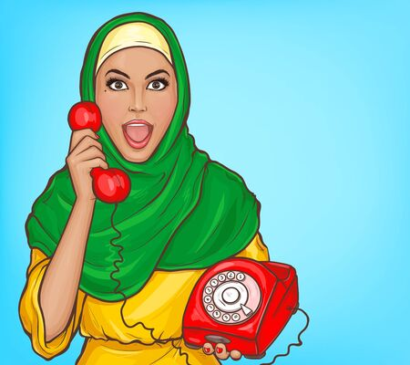 Arabic woman in hijab with vintage dial phone. Surprised muslim girl in traditional clothes talking on old red rotary disk telephone. Vector pop art illustration