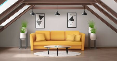 Modern lounge on attic with wooden ceiling beam and windows in roof. Vector realistic interior of mansard living room with yellow sofa, round glass coffee table and plants in white pots on garret Ilustrace