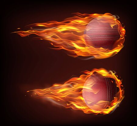 Flying cricket ball in fire isolated on black background. Realistic stitched leather ball in flame.  イラスト・ベクター素材
