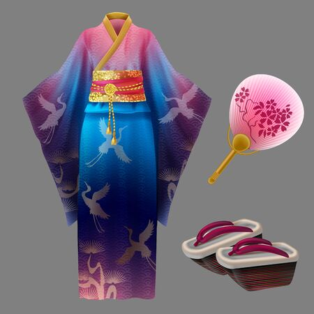 Japanese woman kimono, geisha dress with golden waist, shoes and fan. Yukata with blue and pink ornament with cranes and wooden geta. Set of traditional asian cotton or silk female clothing Illusztráció
