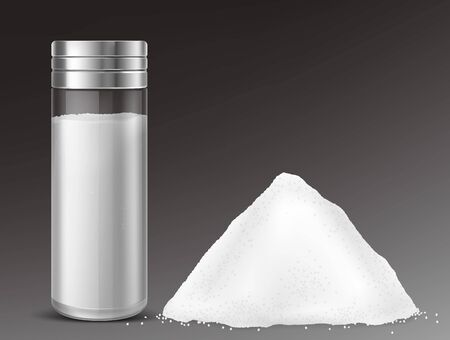 Glass salt shaker and pile of sodium chloride. Vector realistic full salt cellar and heap of white loose seasoning isolated on gray background