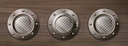 Transparent ship portholes on wooden wall. Vector realistic background of shipboard interior with metal brass round windows illuminators with rivets