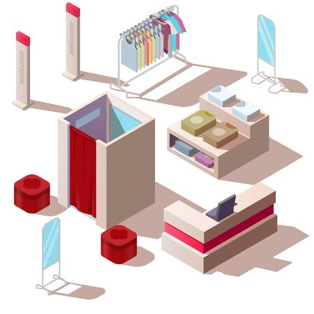 Isometric fashion store in shopping mall. Vector boutique interior with clothes on rack and hanger, cashbox, dressing room and mirrors isolated on white background. Retail showroom Ilustracja