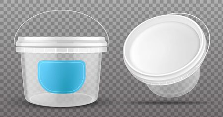 Clear plastic bucket with blue label and white lid isolated on transparent background.Vector mockup of realistic 3d empty container for food, sauce, ice cream front and top view 向量圖像