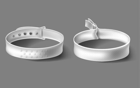 White festival party fabric and plastic wristbands with safety lock. Identity cloth bracelets.
