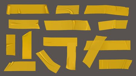 Duct tape pieces. Insulating yellow adhesive stripes attached with wrinkles and unstuck curled edges. Vector realistic set of sticky scotch for packaging, fix or repair isolated on gray background