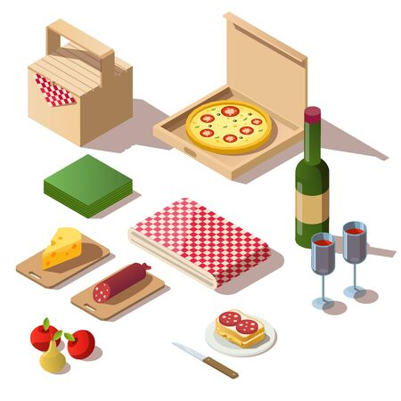 Isometric picnic set with food, pizza box, wine and basket. Vector 3d icons of fresh meal, fruits, bottle with glasses and tablecloth for dinner or lunch outdoor isolated on white background
