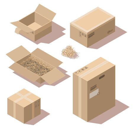Isometric brown cardboard delivery package boxes open and closed. Vector set of storage boxes empty and with shredded paper filler. Goods packaging for shipping, cargo transportation