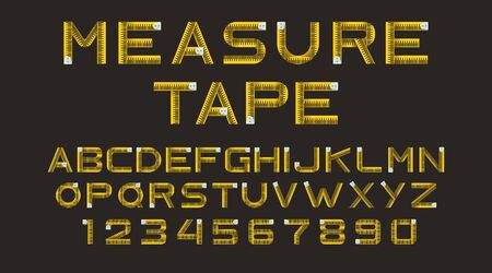 Measure tape font, type isolated on black background. Alphabet from yellow ruler. Vector font with letters and numbers for concept design of school education, architecture or fitness Vektoros illusztráció