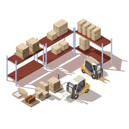 Isometric interior of warehouse with forklift trucks, cardboard package boxes on racks and pallets. Vector equipment for freight logistic, cargo transportation, goods storage and delivery