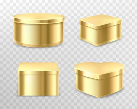 Golden tin boxes for tea, coffee or candies. Vector realistic mockup of round, square and heart shape cans for gift packaging sweets, biscuits isolated on transparent background Çizim